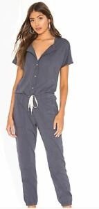 NEW-n-philanthropy-Guava-Jumpsuit-Moonlight-Blue-Front-Button-Down-NWT