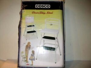 New Cosco White Retro Counter Chair Step Stool With Lift