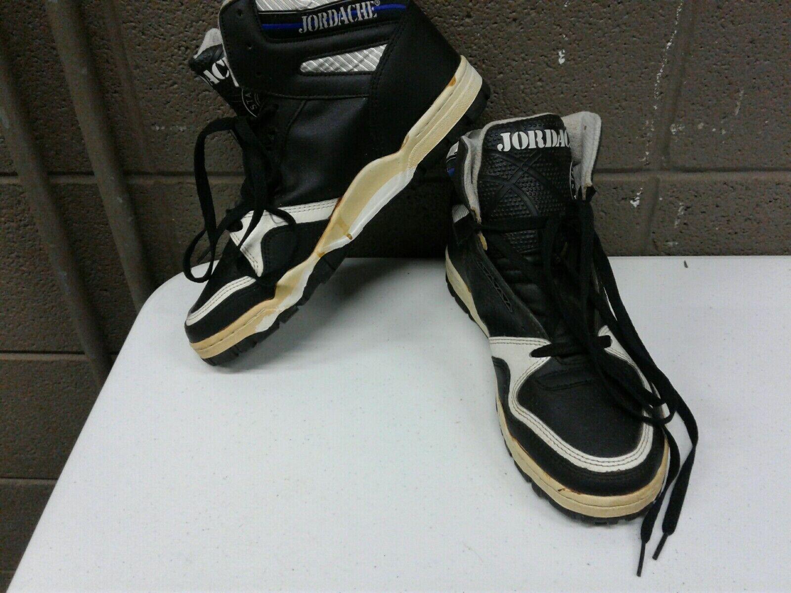 Vintage Rare HTF Jordache High Top Sneakers Mens 6 Black White (g336)