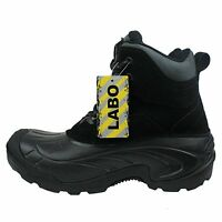 LABO Men's Black Leather Winter Snow Boots Waterproof Shoes 13505 (wide)