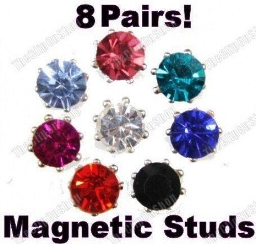 8 Pairs! MAGNETIC clip on  CRYSTAL 7mm STUD EARRINGS black, red, blue RHINESTONE