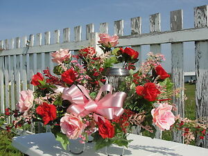 Breast cancer solar light red pink roses sympathy cemetery silk image is loading breast cancer solar light red pink roses sympathy mightylinksfo