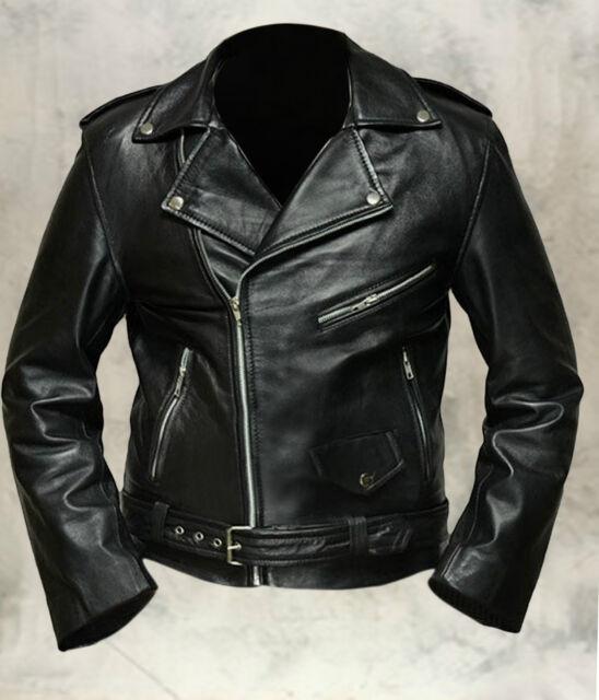 Men's Terminator Style Black Genuine Cowhide Leather Biker Gang Slim Fit Jacket