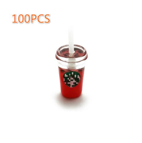 100Pcs Dollhouse Variety Flavors Bubble Tea Boba Drinks 1:6 Miniature Cup Model