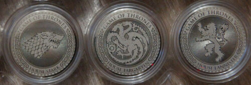 Set of 3 coins 25 rubles Game of thrones UNC