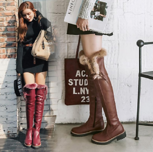 Womens Leather Over The Knee High Boots Fur Trim Block Mid Heel Winter Shoes