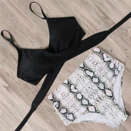 Damen Zweiteilige Bikini Set Badeanzug Strandkleidung High Waist Bademode