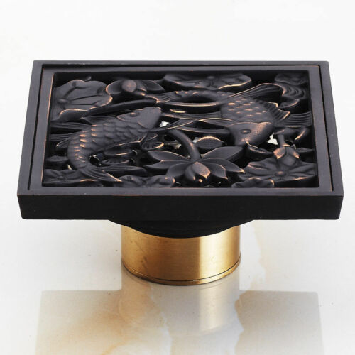 """Bathroom 4/"""" Square Oil Rubbed Bronze Fish Carved Waste Floor Drain For Shower"""