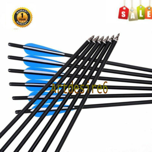 """12pcs 20inch Crossbow Bolts Carbon hunt Arrows With 4/"""" vanes Feather Archery"""