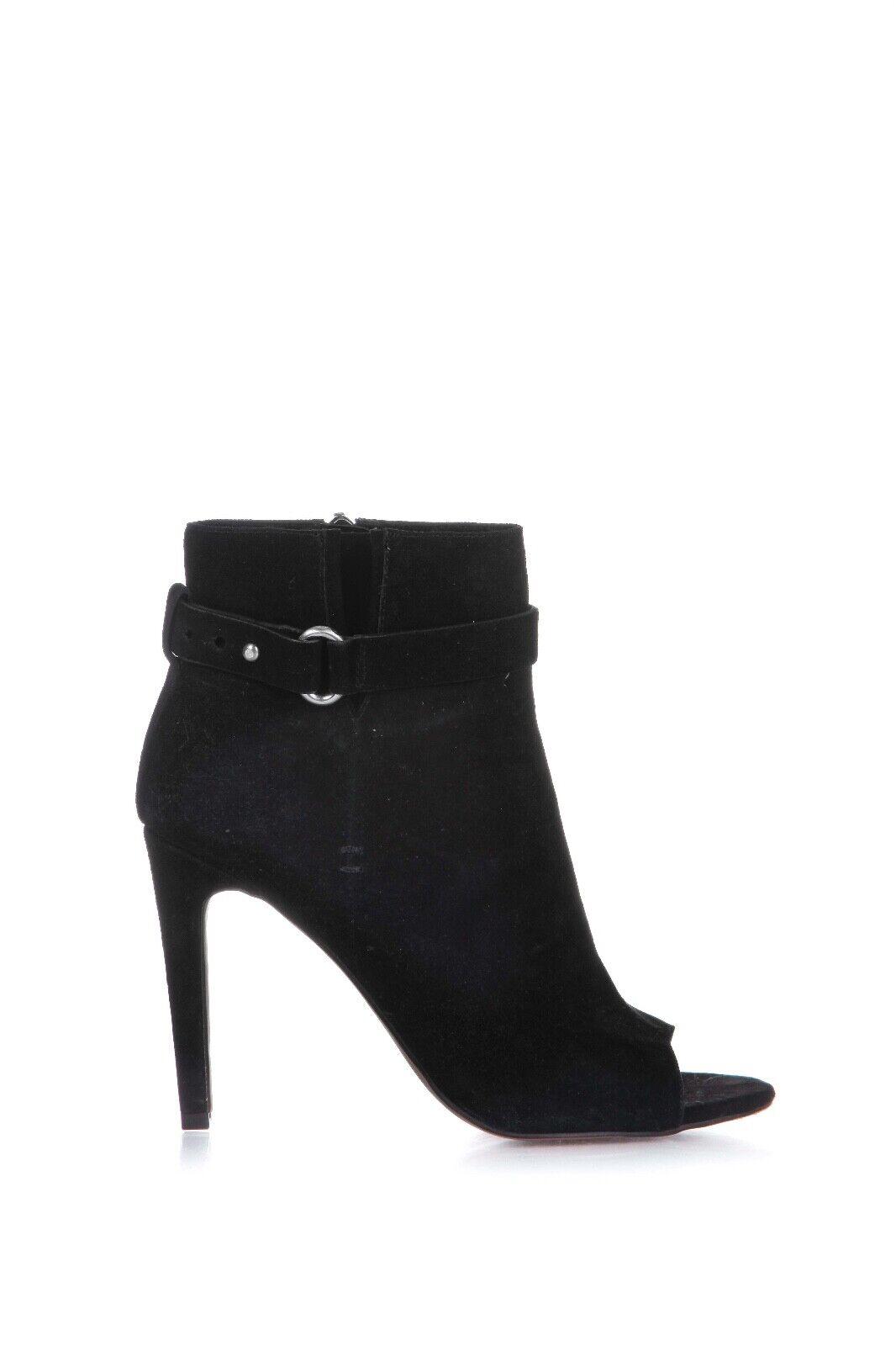 BCBGeneration Ankle Boots US 7.5 M EUR 37.5 Suede Black Peep Toe Buckle Stiletto