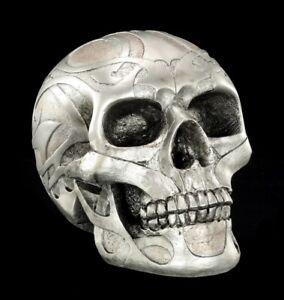 Skull-Silver-Matte-With-Tribals-Gothic-Skull-Halloween-Decor