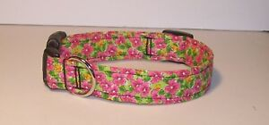 Wet-Nose-Designs-Bright-Pink-Petals-Dog-Collar-on-Lime-Floral-Flowers-Posy