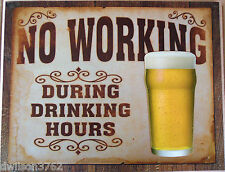 No Working Drinking Hours Funny Sign Hanging Plaque Man Cave Home Bar Pub Gift