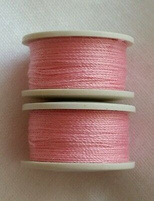 Methodisch New 2 X 25m Baby Pink Cotton Sewing Thread Bobbins For Sewing Machines.