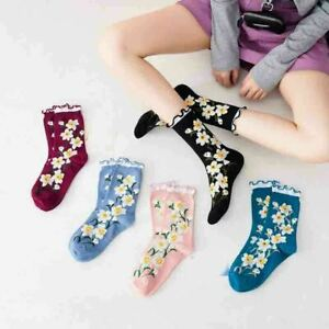 Women-Girls-Floral-Ruffled-Cotton-Socks-Middle-Tube-Casual-Ankle-Warm-Socks-XMAS