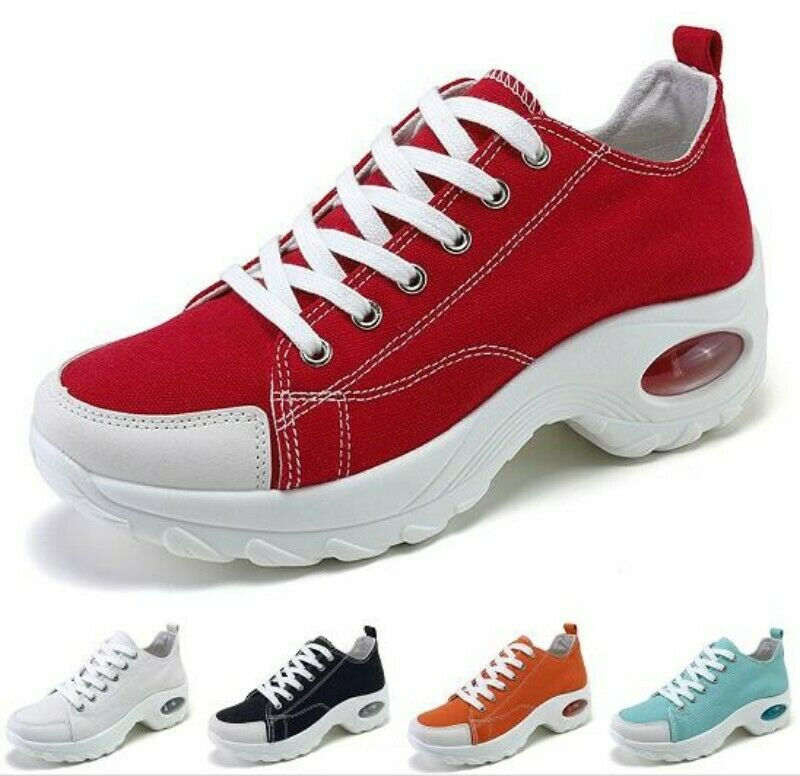 New Fashion Women's Athletic Sneakers Sport Shoes Wedge Heel Lace Up Trainers B