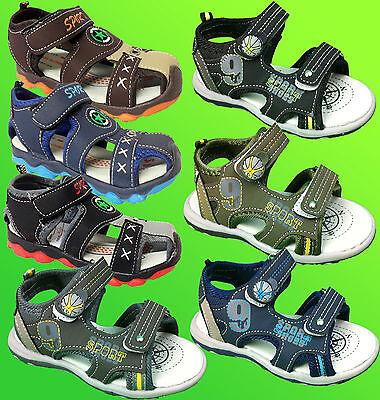 Infants Kids Boys Strap Velcro Slip On Sports Summer Beach Slipper Sandals Shoes