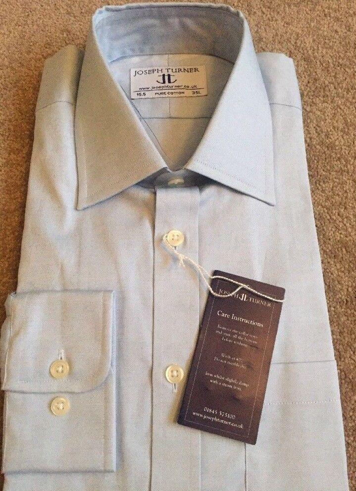 Homme Joseph Turner Coton Bleu Shirt Shirt Shirt À Manches Longues 15.5