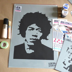 ideal stencils  Jimi Hendrix Stencil Reusable Wall Decor Art Craft Paint Ideal ...
