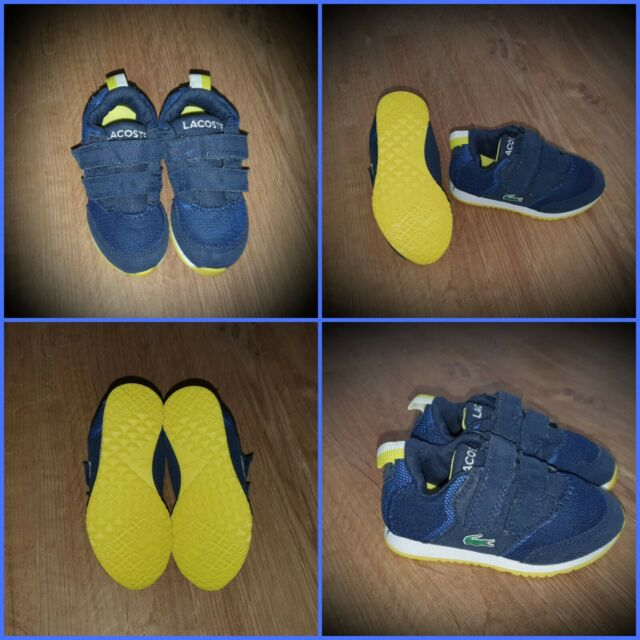 #24 Baby Boy Lacoste Trainers UK Size 5 Infant Blue / Yellow