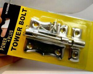 Gate-Shed-Wooden-Door-Tower-Bolt-Metal-Slide-door-Lock-3-034-Chrome-metal-screws