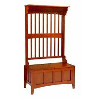 Hall Tree Storage Bench Deacon Rack Coat Entryway Pine Wood Furniture Hat Wooden