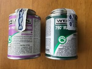 Weldon Purple Pc-64 Primer & Cleaner & 1 Weldon Clear 790 Pipe Cement 1 Brave