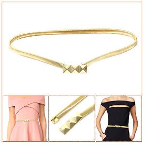 Damen-Metall-Gold-Verstellbar-Dehnbar-Bund-Guertel-fuer-Damen-Kleider-Kleider