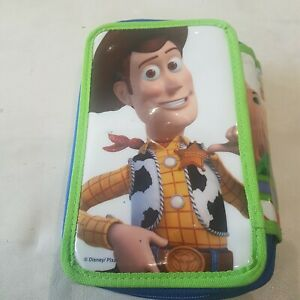 Toy-Story-3-Woody-Buzz-3D-Multi-Pocket-Pencil-Case-3-zip-up-pockets-rare