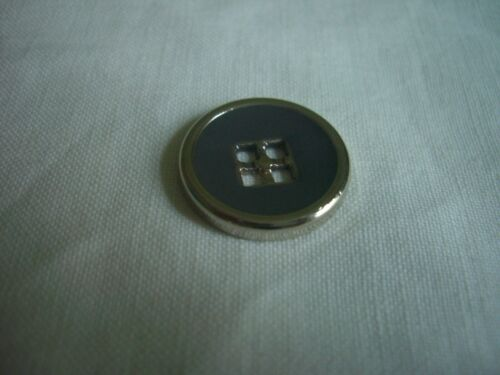 SILVER WITH GREY CENTRE 4 HOLE METAL  BUTTONS  x 8  FREE P/&P