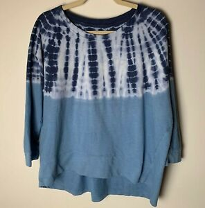 Sonoma Women's Top Size XL Tie Dye 3/4 Sleeves Casual Blue White