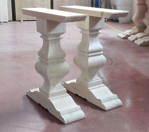 Coppia di gambe per tavolo gamboni balaustra in legno massello ...