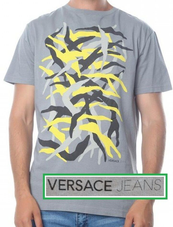 NWT Versace Jeans By Gianni Versace LOGO Abstract Print Slim Fit T-Shirt In grau