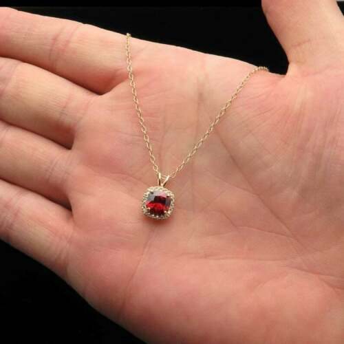 1.50 Ct Cushion Cut Solitaire Red Ruby Halo Pendant Necklace 14k Yellow Gold GP