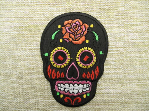FLOWERED  SKULL  Black Embroidered Iron On Sew On Patches  FREEPOST