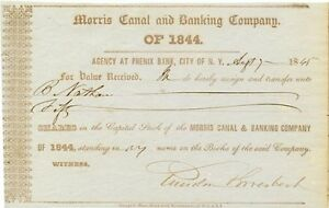 Morris-Canal-amp-Banking-Company-1845-stock-transfer-certificate