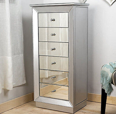 Mirrored Jewelry Armoire Cabinet Tall Storage Chest ...