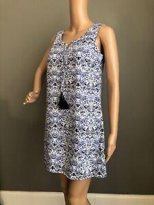 St-Tropez-West-XS-Blue-White-Paisley-Floral-Summer-Linen-Shift-Dress-Tassel-Tie