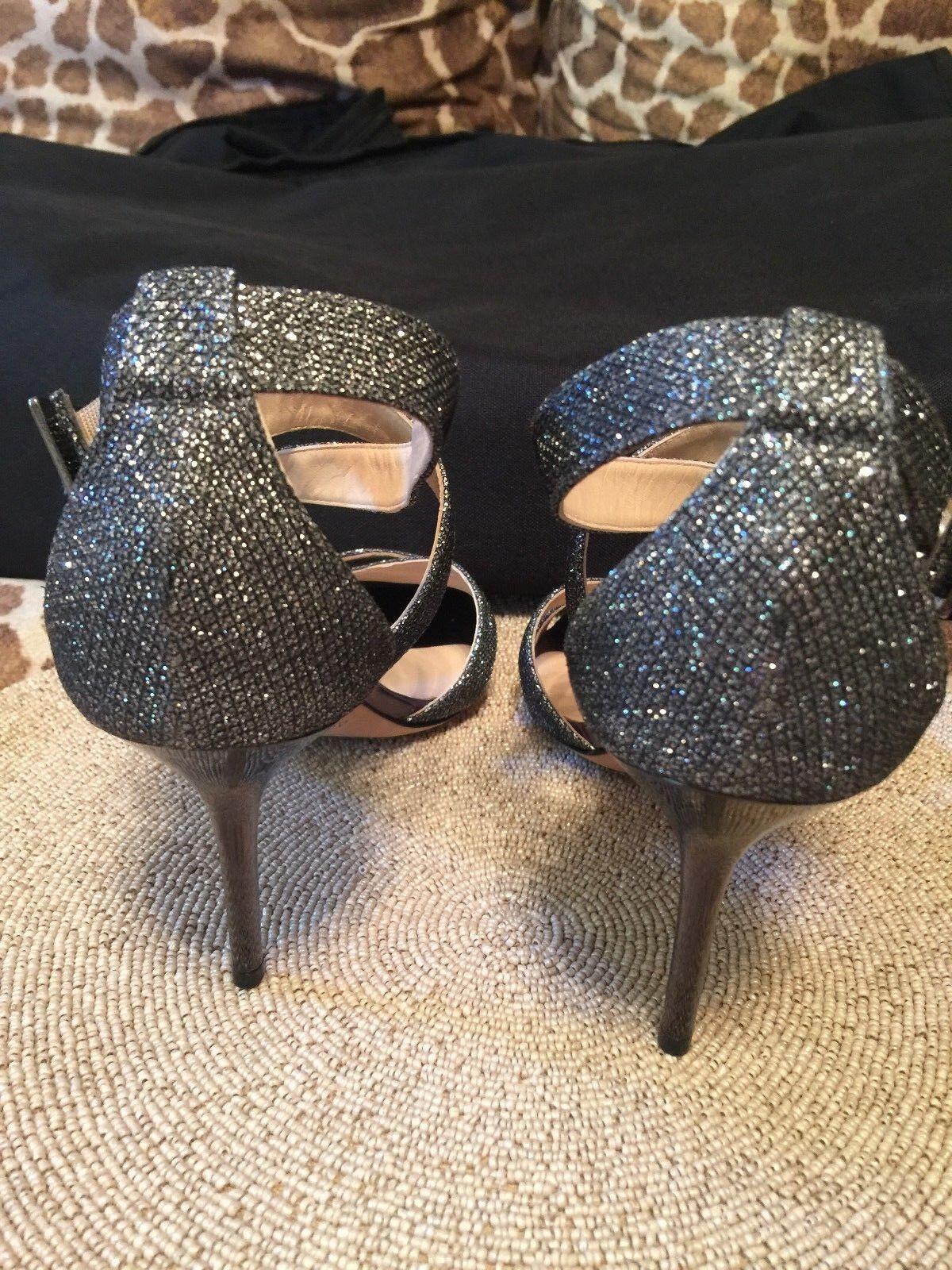 Jimmy Choo Lottie Gunmetal Silber Glitter Open Toe Ankle Ankle Ankle Sandal Heel schuhe 40.5 d12446