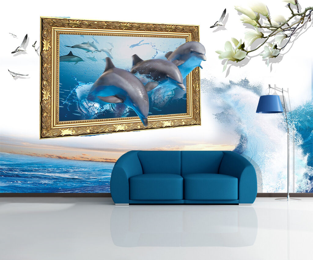 3D Surf And Dolphins 2172 Wallpaper Decal Dercor Home Kids Nursery Mural Home