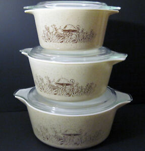 Vtg PYREX Forest Fancies Mushroom Casserole Dish Lid 471 472 473 Fungi Set of 3