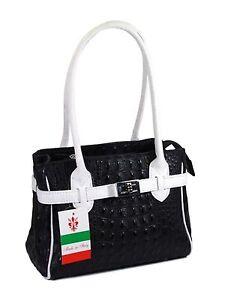 Ital Echt Leder Tasche elegante Mini Bag Handtasche schwarz weiß kroko NEU