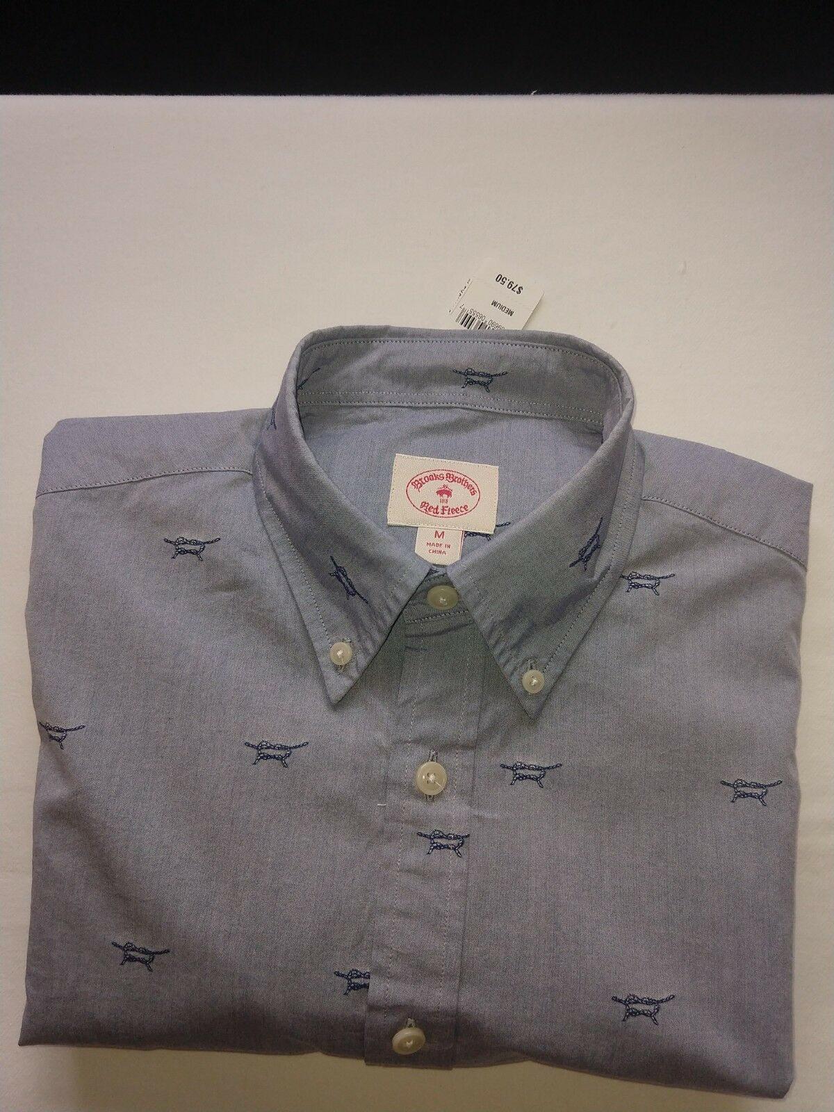 New  Red Fleece Brooks Bredhers Mens Embroidered Knot Pattern L S Shirt