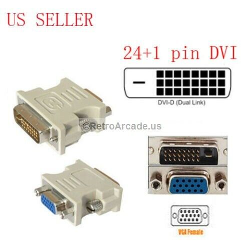 DVI-D 24+1 25 Pin Male To VGA 15 Pin SVGA Female Video Monitor Adapter Converter
