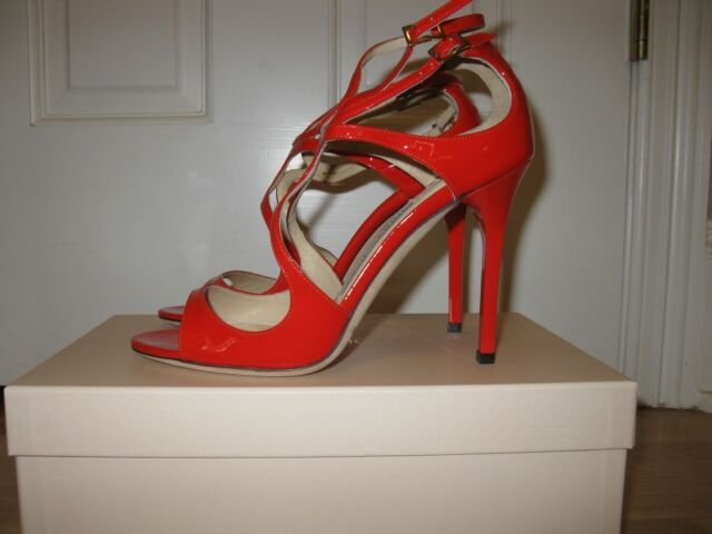 Jimmy Choo Lang Patent Leather Strappy Sandals Flame Shoes 37, NIB