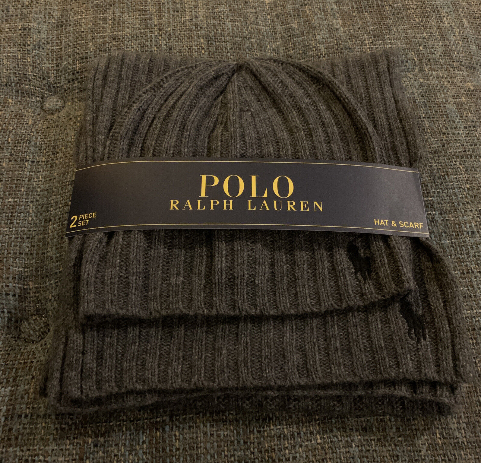 Nwt Polo Ralph Lauren Hat And Scarf Set One Size Gray Black Ribbed Beanie T3