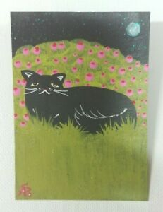 Original-OOAK-Painting-ACEO-ATC-2-5-x-3-5-Signed-Black-Cat-Roses-Moon-Stars