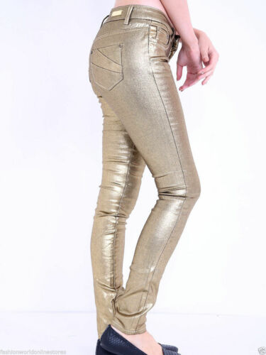 WOMEN/'S GIRLS LADIES SUPER LEATHER WET LOOK JEANS SKINNY FIT HIGH WAIST TROUSERS