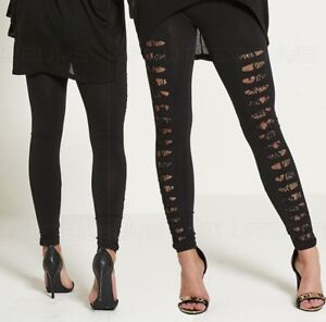 Womens-Leggings-Ripped-Lace-Insert-Ladies-Gym-Clubbing-New-One-Size-Black-UK