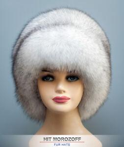 Saga BLUE FOX Fur Winter White Hat Russian Schapka Pelzmütze ... 3901a5e2beb